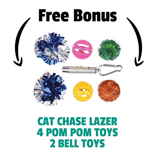Ruff 'n Ruffus Foldable Cat Tower Tree + Free Bonus Handheld Chase Toy + 6 Cat Toys | Plush Folding House with Hammock | Condo | Scratching Pad | & Play Balls | for Kittens | Medium & Large Cats 6