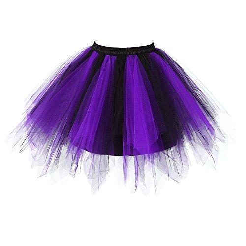Honeystore Women's Vintage 1950s Short Tulle Petticoat Ballet Bubble Tutu Skirt Dark Purple and Black for $<!--$19.99-->