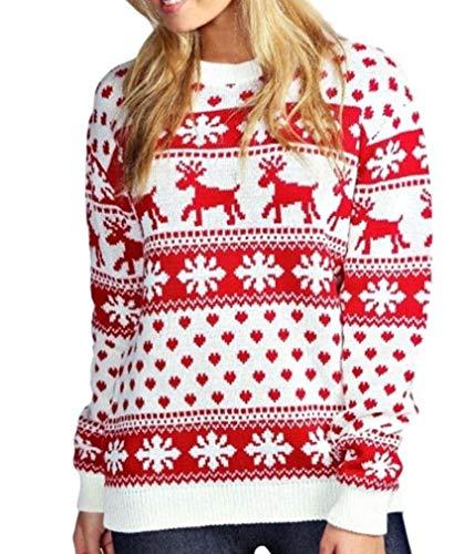 Cream Maglione A Snowflake Natale Da amp; Renna Xpozed Rudolf Donna Maglia Moda Reindeer 6wCxBx7f