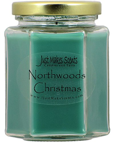 Northwoods Christmas Blended Soy Candle | Fresh Wintery Balsam Pine & Light Spiced Cranberry | Hand Poured in the USA by Just Makes Scents (8 fl oz) ()
