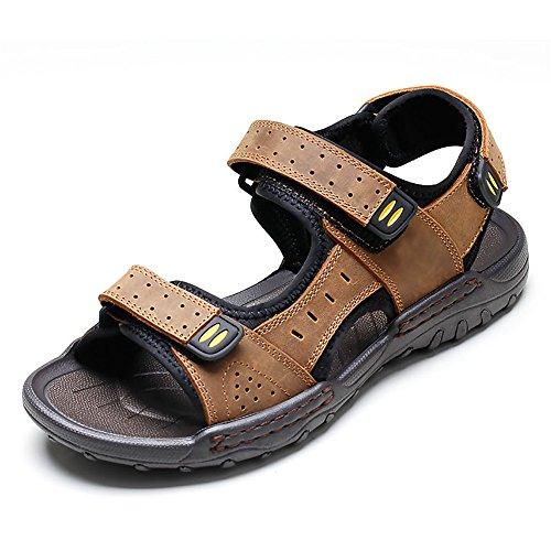 EU Brown uomo 42 in Sandali chiusi Sandali antiscivolo uomo sandali Color Brown in sandali Qingqing pelle da Size assorbenti sudore traspiranti da pelle x1pfB