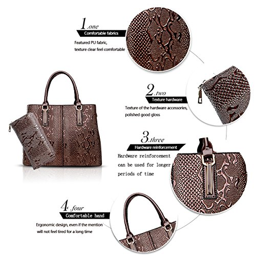 Women's Handbags Fashion Son Shoulder Messenger Two Bag Brown of Sets Crocodile Handbag Wallet Tisdaini Pattern dqg51