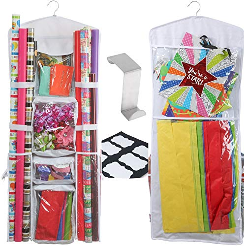 Clorso Vertical Wrapping Paper Storage - Premium 40 Inch Hanging Gift Wrap Organizer with 1 Bonus Door Hook and 8 Labels (White)