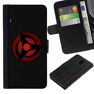 Be Good Phone Accessory // Caso del tirón Billetera de Cuero Titular de la tarjeta Carcasa Funda de Protección para Samsung Galaxy S5 Mini, SM-G800, NOT S5 REGULAR! // Red Sphere