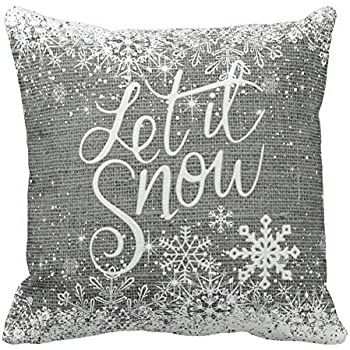 Asamour Vintage Xmas Quotes with Snowflake Cotton Linen Throw Pillow Case Home Decorative Cushion Cover for Sofa Couch Bedding 18x18 Inches (Let it Snow-Grey)