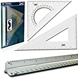 "Mr. Pen- 3 Pc Large Triangular Ruler Set, Triangular Scale, 11"" 30/60 and 8"" 45/90 Triangles, 12"" Architect Triangular Scale, Set Squares, Geometry Ruler, Architectural Scale Ruler"