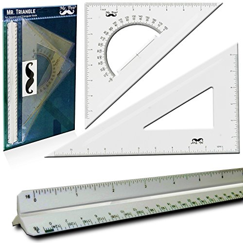"Mr. Pen- 3 Pc Large Triangular Ruler Set, Triangular Scale, 11"" 30/60 and 8"" 45/90 Triangles, 12"" Architect Triangular Scale, Set Squares, Geometry Ruler, Architectural Scale Ruler (Rulers Architectural Scale)"