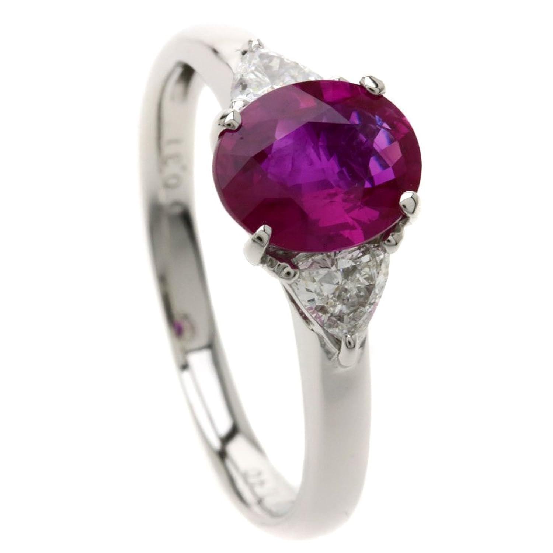 [セレクトジュエリー]ビルマ産ルビー/ダイヤモンド リング指輪 Pt900 レディース (中古) B07C5MS62V