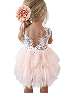 7858c103c0f Amazon.com  2Bunnies Girl Beaded Peony Lace Back A-Line Tiered Tutu ...