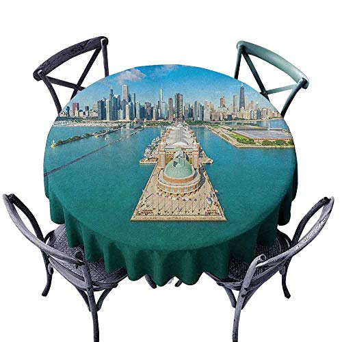 G Idle Sky Chicago Skyline Washable Table Cloth Aerial Panorama of Navy Pier Marine Metropolis Big City Silhouette View Easy Care D63 Multicolor