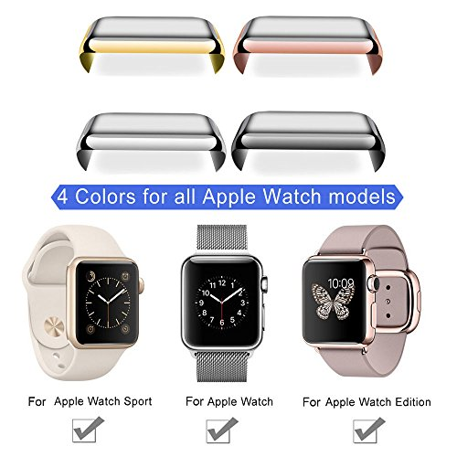Apple Watch 42mm Tempered Glass SCREEN PROTECTOR CASE,2win2buy Ultra Thin 9H Hardness [Full Coverage] Electroplate Screen Protector with Metal Bumper ROSEGOLD Photo #7