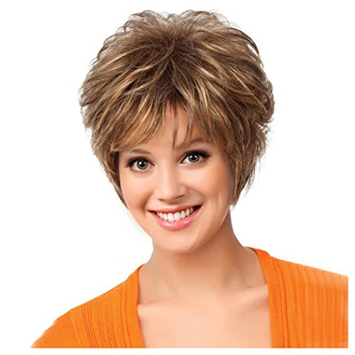 Half Life 2 Costumes Sale (Short Curly Wigs, Inkach Women Girls Heat Resistant Hair Full Wig Charming Cosplay Costume Synthetic Wigs (Brown))