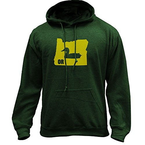 USAMM Original I Duck Oregon Classic Pullover Hoodie (X-Large, Forest Green)
