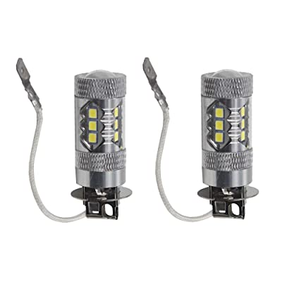 2pcs H3 6000K White 80W Super Bright LED Fog Tail Turn DRL Head Car Light Lamp Bulb: Automotive