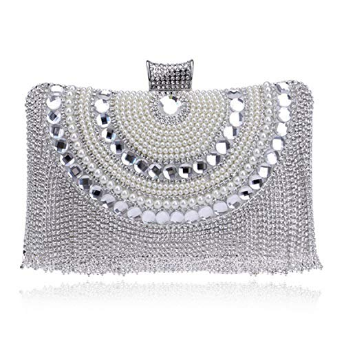 Beaded women evening bags tassel rhinestones clutches evening bag diamonds purse,YM1074silver
