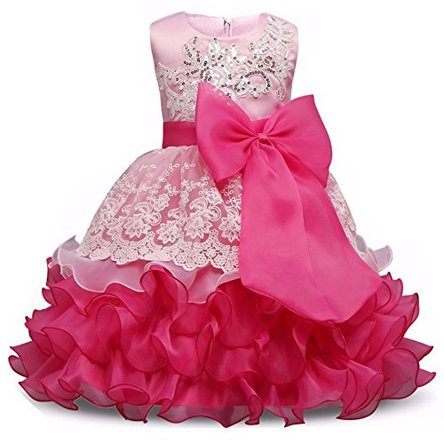 [Girl Sequins Ruffles Party Dresses Ruffles Clothing Summer Sleeveless Pleated Skirt Tea Length Outfit Beach Formal Clothes for Princess Playwear Clothes 8 (Rose,] (Pageant Suits)