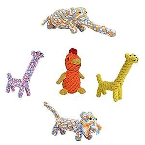 Amazon.com: Best Dog Rope Toys Set - Braided Animal Puppy