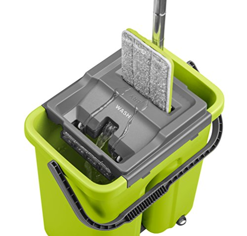 CleanUP Complete Wash And Dry Flat Mop And Bucket Cleaning System. REVOLUTIONARY Labour Saving Mop For ALL Floors. Loved by Homes With Kids and Pets. Saves Time and Effort. Compact Storage. Includes FREE Spare Long Lasting EXTRA Mop Head