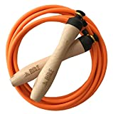 Speed Jump Rope – – Fully Adjustable for Men, Women and Kids – Non slip wooden handles, fast, fluid, fully adjustable – USA Made – FREE velvet pouch included.