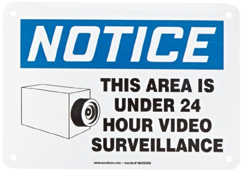 """Accuform MASE806VA Aluminum Safety Sign, Legend """"NOTICE THIS AREA IS UNDER 24 HOUR VIDEO SURVEILLANCE"""" with Graphic, 7"""" Length x 10"""" Width, Blue/Black on White"""