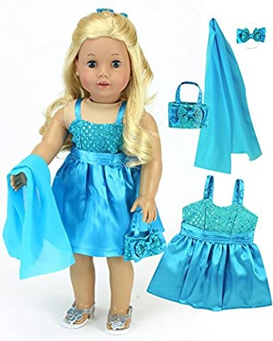 18 Inch Doll Dress 4 Pc. Set, Shimmering Turquoise Doll Clothing Dress, Matching Purse, Shawl & Hair Bow in Satin & Sequin. Fits American Girls Dolls & More! Turquoise Doll Dress - Purse Doll Clothes