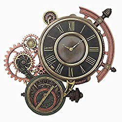 XoticBrands Steampunk Astrolabe Wall Clock - Home Accent - Cold Cast Bronze Sculpture