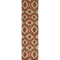 Momeni Rugs BLISSBS-09ORG2380 Bliss Collection, Hand Carved & Tufted Contemporary Area Rug, 23 x 83 Runner, Orange