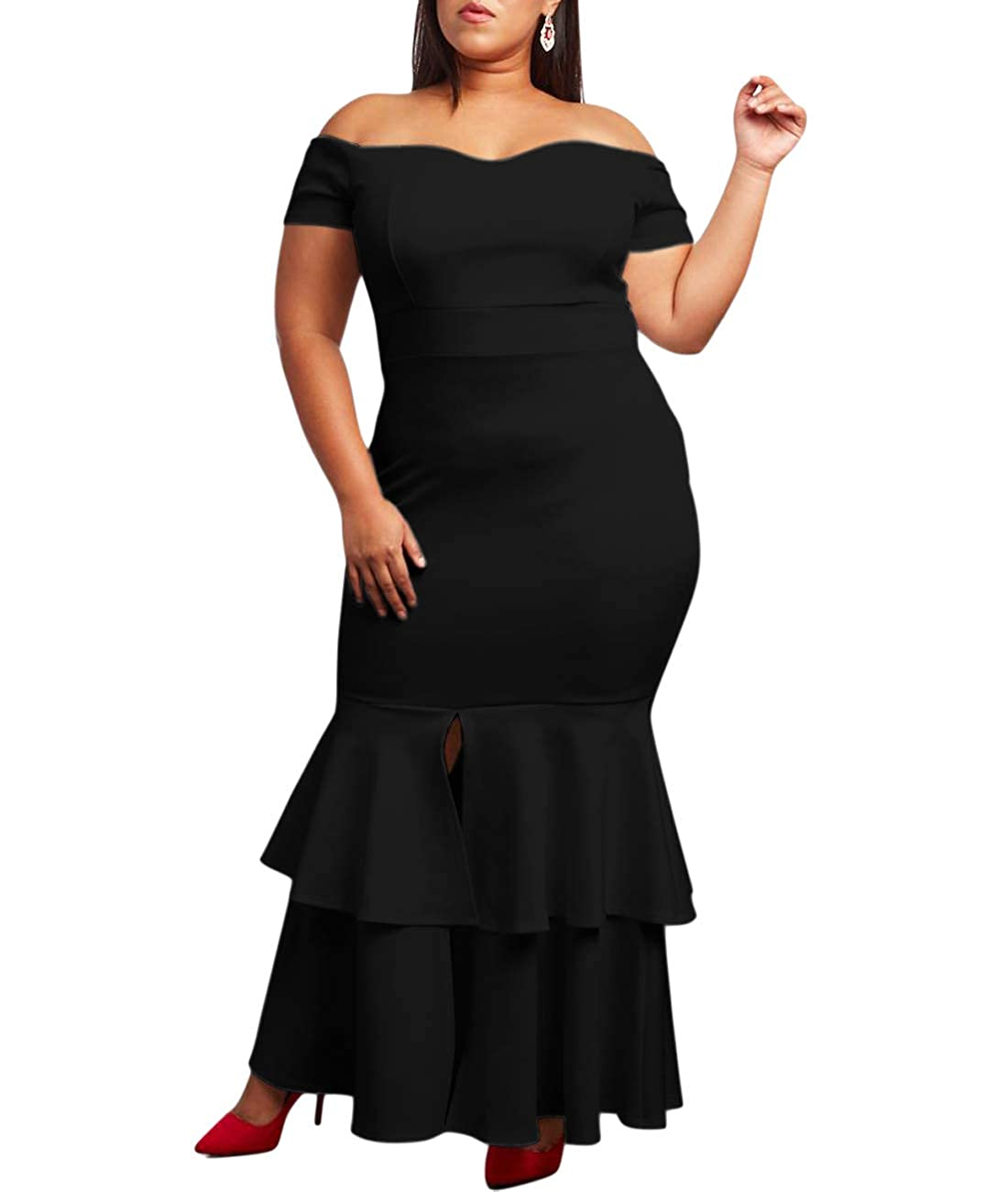 af93890a195 Lalagen Womens Off Shoulder Bodycon Ruffle Mermaid Plus Size Party Maxi  Dress at Amazon Women s Clothing store
