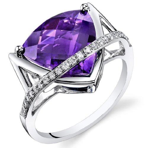 Amethyst Diamond Ring 14Kt White Gold Trillion Checkerboard Cut 5.1 Carats