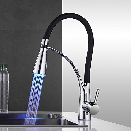 LED Kitchen Faucets With Rubber Design Chrome Mixer Faucet For Kitchen Single Handle Pull Down Deck Mounted Crane For Sinks