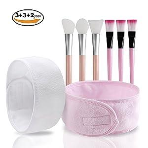 Face Mask Brush, Teenitor 3 Soft Silicone Facial Mask Brush& 3 Bristles Brush Facial Mud Mask Applicator Brush & 2 Pack Makeup Wrap Headbands, 8pcs