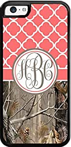 Country Girl Coral Quatrefoil Brown Camo Ing Monogram Case Cover For iPhone 5C Case- Snaps on
