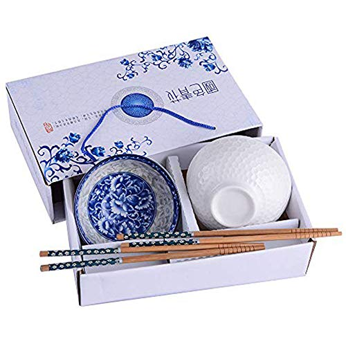 Chinese Ceramic Rice Bowls and Chopsticks Set of 2, White and Blue Porcelain Rice Bowls with Delicate Box for Rice Soup and Oatmeal, As a Good ()