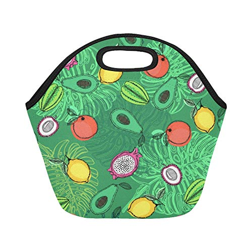Insulated Neoprene Lunch Bag Summer Fashion Fruit Dragon Avocado Large Size Reusable Thermal Thick Lunch Tote Bags Lunch Boxes For Outdoor Work Office -