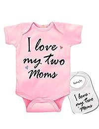 """ I Love my two moms ""Custom Boutique Baby bodysuit onesie & Matching bib Set"