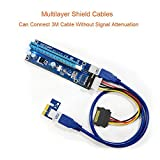 VICTONY 6-Pack 4 Pin PCI-E 16x to 1x Powered Riser Adapter Card w/60cm USB 3.0 Extension Cable & MOLEX to SATA Power Cable - GPU Riser Adapter - Ethereum Mining ETH+MintCell 6 Cable Ties