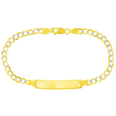 2d93a846051cf Amazon.com: Solid 14K Yellow Gold Two-Tone Childrens ID Bracelet ...