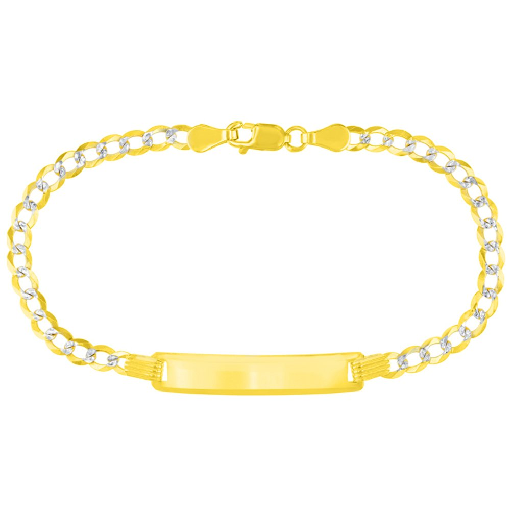 Solid 14K Yellow Gold Two-Tone ID Bracelet with White Pave Cuban Link Chain 3.2mm, 6''