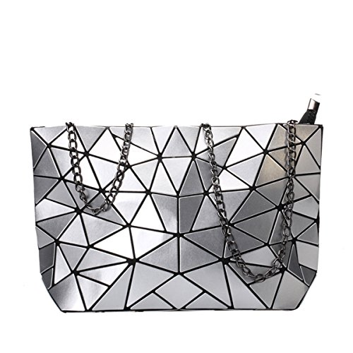 Color Split Pu Leather - Flada Womens Metallic Color PU Leather Geometric Split Joint Plaid Shoulder Bags with Chain Silver