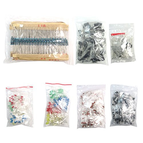 WINGONEER Electronic Components Package(Total 1390 PCS) - LED Diodes 30 Values Resistors,Electrolytic Capacitor Package Ceramic Capacitors Common Diodes Common Transistor