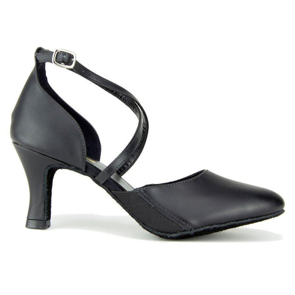 Ladies large size 2.5'' heel ballroom shoe (12, Black)