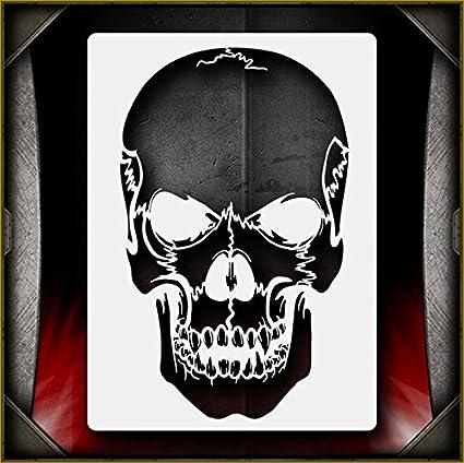 Amazon Skull 25 AirSick Airbrush Stencil Template