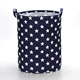 VuHom 19.7'' Large Laundry Hamper (Available 17.7'' and 13.7''), Drawstring Waterproof Round Cotton Linen Collapsible Storage Basket Star Deisgn (Royal Blue)