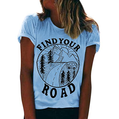 TWGONE Find Your Road Tshirt Women Summer Short Sleeve O Neck Print Tops Blouse(Light Blue,Small) ()
