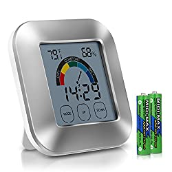 Adoric Life Indoor Thermometer Temperature Humidity Monitor with Smart Touchscreen Backlight Built-in Clock & Timer Digital Hygrometer