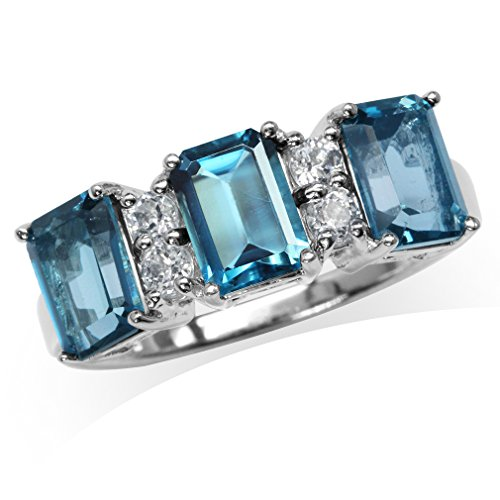 Silvershake 3.52ct. 3 Stones Genuine London Blue Topaz White Gold Plated 925 Sterling Silver Ring