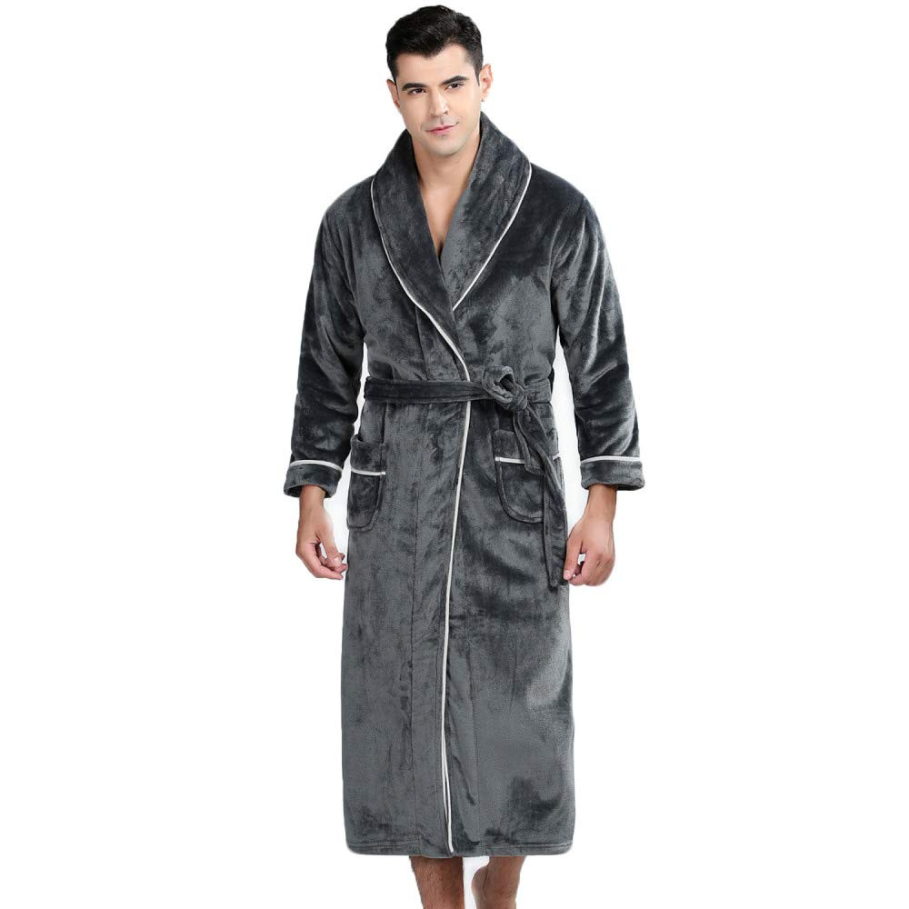 Bata De Invierno para Hombre Cálida Bata Chal Mantón Albornoz Loungewear Ropa De Dormir Suave Capa De Casa con Cinturón para Corbata para Gimnasio Ducha ...