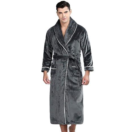 Bata De Invierno para Hombre Cálida Bata Chal Mantón Albornoz Loungewear Ropa De Dormir Suave Capa