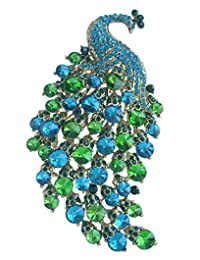 "Sindary Gorgeous 4.33"" Turquoise Green Rhinestone Crystal Animal Peacock Brooch Pin Pendant CB5651"
