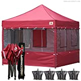 Cheap ABCCANOPY Food Vendor Tent 10×10 Food Vendor Booths 10×10 Food Service Canopy with Enclosure (burgundy) ¡­